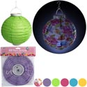 Lantern Paper Led Lite-up 6ast 5-solids/1 Floral 8in Round Spring Pbh/2-aaa Batt/not Incld