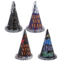 New Year Party Hat 12.5in 4ast Paper/foil W/silver Tinsel Trim Inside Upc Label