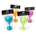 Champagne Plastic Glass 3pk 4ast Summer Tints 3.5inx4.25 Party Pbh