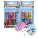 Umbrella Cocktail Sticks 15ct 4in Multicolor 2ast Print 12pc Mdsgstrip/blister Card