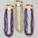 "Necklace Beaded 6ct Metallic 30"" Multi Or Gld/silver 3asst Party Tie On Card"