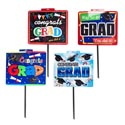 Yard Sign Graduation 4asst 14.5x15 26in Plastic Peggable Grad Barbell Label