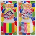 Birthday Candles 24ct W/decor 1 Happy Bday Sign & 12ct Holders 2ast Colors/party Blst/mdsgstp