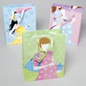 Gift Bag Paper Baby Shower 3asst Styles 12x10x5 W/ribbon Handle Upc Label