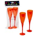 "Champagne Flute Glass Set 2pk Plst Red Tint 9""h Prtd Opp Bag"