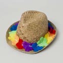 Luau Straw Fedora W/floral Band Natural Color Luau Ht