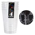 Tumbler 4pk 14oz Clear Plastic Floral Embossed Wrap Label
