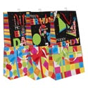 Gift Bag Birthday Graphic W/bow 6ast Ver/horiz Glitter 10x12x5 Upc Label/hangtag/jhook