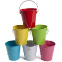 Pail Tin Mini 6ast Solid Colors W/handle 4.125in/upc Label White/red/yellow/pink/blue/green