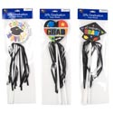 Graduation Foam Pick/wand 3pk 3ast 14in Cap/heart/circle W/ W/ribbon Streamer Decor/grad Pbh