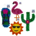 Luau Tinsel Decorations 4ast Flamingo/cactus/sun/flipflop See Notes For Sizes