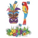 Luau Paper Hanging Decor 3ast Parrot/aloha/tiki 1 Side Print 18.75 X 11.75in Apprx/luau Ht