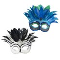 Mask Sequin Carnivale Feather Deluxe Styles/colors 2ast W/tie Around Strings