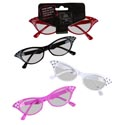 Cat Eyeglasses W/rhinestone 4ast Colors 50's & 60's Retro Novelty Style Barbell Headercrd