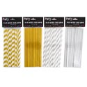 Straws Paper Metallic 15pk 4ast Silver/gold Solid/striped Pbh