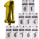 Balloon Foil Numbers 0-9 W/straw 10ast Silver 14-16in Approx Polybag Insert Card