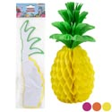 Luau Pineapple Homecomb Tissue Decor 3asst Color 11.5 X 5.5in Hang/stand W/3clips Luau Pbh
