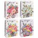 Gift Bag Paper Large Floral 4ast 210gsm Upc W/ribbon Handle 10.24 X 12.6 X 3.94in