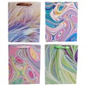 Gift Bag Paper Large Marble Swirl 4ast Upc/ribbon Handle 210gsm W/glitter One Side