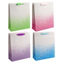 Gift Bag Color Drip Large 4ast 10.24x12.6x3.94in W/ribbon Hdl Glitter One Side/upc 210gsm