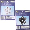 Balloons 8ct Grad Printed 10in Black Or White Pb/ins