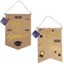 Graduation Banner Faux Burlap 2ast Hotstamp Print 14x10in/ht Reach For The Stars/way To Go