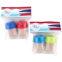 Toothpick Dispenser 2pk W/100 4ast Summer Colors Polybag/hdr