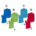 Oven Mitt 12in/potholder 7x9in 4asst Colors Summer Ht Red/blue/green/turquoise