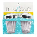 Salt & Pepper Shaker Set Plastic 2.75in W/plated Lids Kitchen Wrap Card