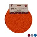 Trivet Woven 2pc 8in Dia 4 Fall Colors Fall Hdr