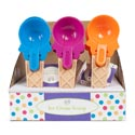 Ice Cream Cone Shaped Scoop W/pop Out Tab 30pc Pdq/3 Asst Summer Colors/ht 7.625in