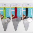 Pizza Cutter And Server 11.25in S/s 3ast Color B&c Tie Card Red/black/green