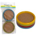 Coasters 4pk Plastic W/cork Core 4ast Fall Colors/pk B&c Prtd Pb 4in Dia