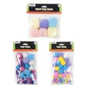Pom Poms Pastel 3ast Sizes Glitter 80ct/giant 6ct/reg 90ct 5ast Colors Per Bag/craft Pbh