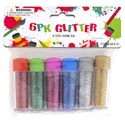 Glitter 6pk Mini Tubes 6ast Colors 3g 0.1oz Appx/pbh