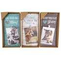 Wall Plaque/frame Pet Theme 3ast 2 Dog/1 Cat Mdf W/clip For 4x6 Hanging/window Box 6.69 X 13.3