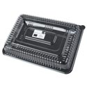 Serving Tray W/lid 10x14in Plastic Clear Lid W/black Base Reusable W/color Label/upc