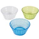 Bowl Salad W/diamond Cut Design 6in Dia Clear/blue/green Upc Lbl 90g