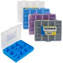 Craft Box Plstc Mini Compartment 4ast Colors 6.5x5.25in Color Label-grey/wht/blue/purple