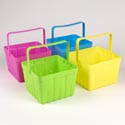 Berry Basket Plastic W/handle 6.25x6.25x4.5-80g 4ast Colors Pink/green/yellow/blue Label