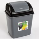 Trash Can W/swing Top 2gal Cap 10 X 8 X 12in Grey W/black Lid