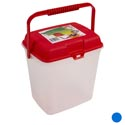Storage Canister W/lid & Handle Plastic 10.5 X 8.5 X 11inh Red & Blue Lids