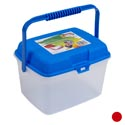 Storage Canister W/lid & Handle 10.5 X 8.5 X 7inh Red/blue Lids