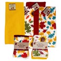 Kitchen Textiles Fall Microfiber 2pk Dishclth/1pc Towel 2ast Prnt 2ast Solids/jhook & Wrap Car