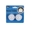 Tealight Led 2pk White W/flicker Flame 12pc Mdsgstrip Be Bright