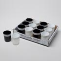 Candle Holder Glass 12pc Pdq W/bling Rim 2.28dx2.64h Upc Lbl Solid Black Or White