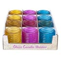 Candle Holder Glass 12pc Pdq 2.5h X 2.25d 3ast Spring Colors Pink/yellow/blue Upc Label