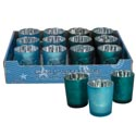 Candle Votive Holder Coastal 3as Frstd 2clrs/slvr Plated/12pc Pdq Shell/anchor/fish-green/blue