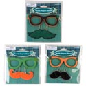 St Patrick Disguise Paper/foam Glasses W/dangle 'stache 3ast Ea On 12pc Mdsg Strip/tie On Crd
