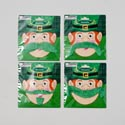 Mustache Self Adhesive St Pats Green 4 Styles On 12pc Mdsgstrip Polybag W/printed Backer Card